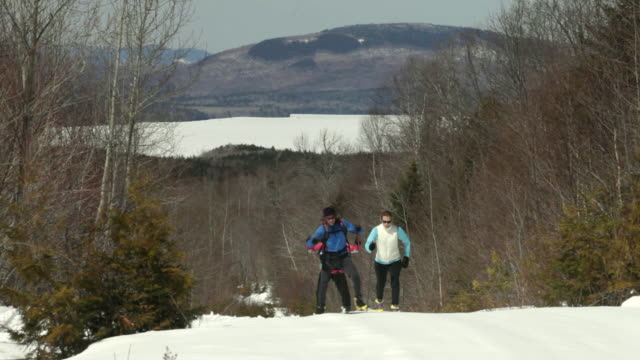 WS Group of people cross-country skiing up hill / Flagstaff, Maine, USA