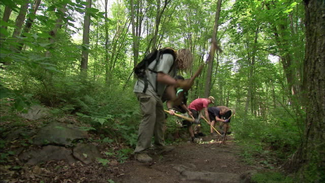 ws group of people digging out rocks from forest path / rutland, vermont, usa - sentiero video stock e b–roll