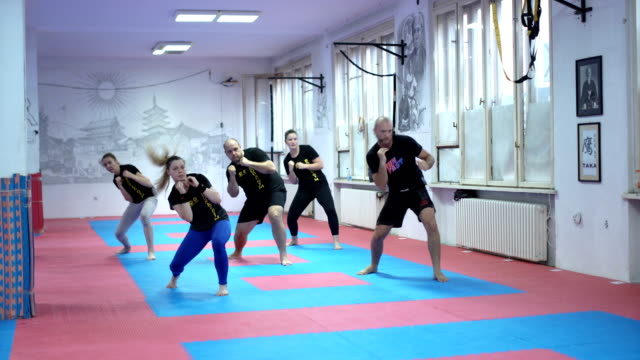 group of people doing workout choreography - self defence stock videos & royalty-free footage