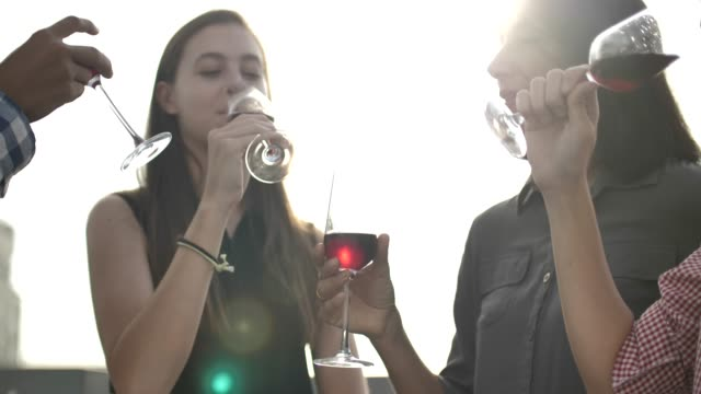 group of people drinking with wine at rooftop on sunset - roof stock videos & royalty-free footage