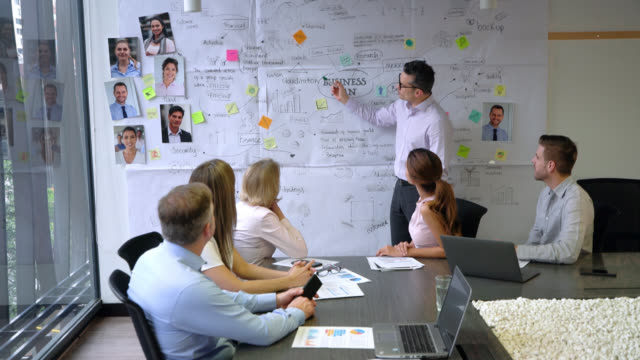 group of people during a meeting paying attention to manager explain a business plan - business strategy stock videos & royalty-free footage