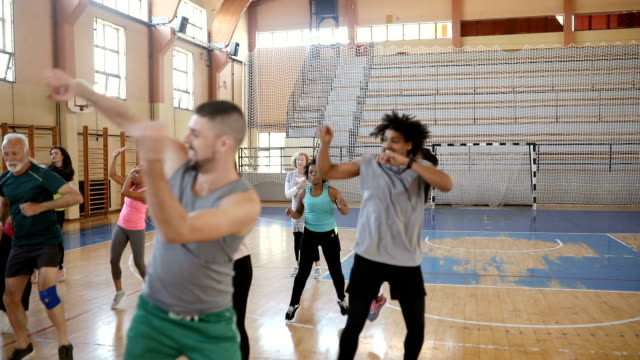 Group of People Enjoying a Zumba Class