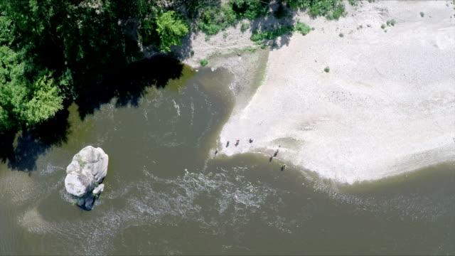 vidéos et rushes de groupe de personnes bénéficiant d'une plage au bord de la rivière - âges mélangés