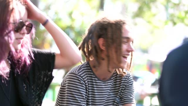 group of people / friends having fun at park - rastafarian stock videos & royalty-free footage