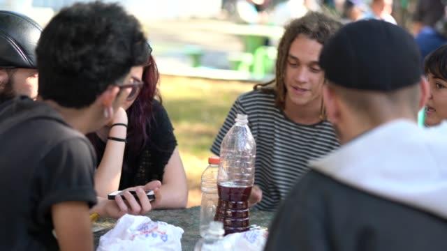 vídeos de stock e filmes b-roll de group of people / friends having fun at park - organização
