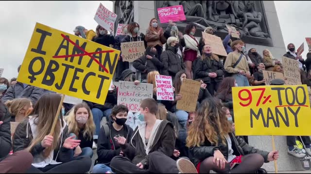 group of people gathered in london to protest violence against women on saturday . protestors gathered in parliament square and moved towards... - business person stock videos & royalty-free footage