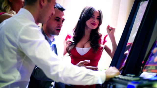 group of people having fun in casino. - serene people stock videos & royalty-free footage