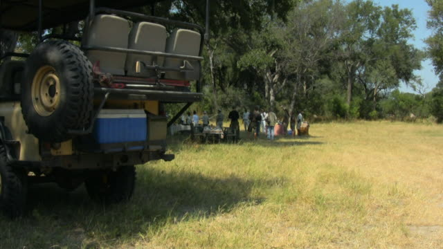 WS, Group of people having picnic in savanna, off-road vehicle in background, Botswana