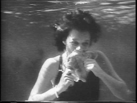 vidéos et rushes de group of people in bathing suits sit at a table at the bottom of a lake / the man at the head of the underwater table sharpens a carving knife /... - table de pique nique