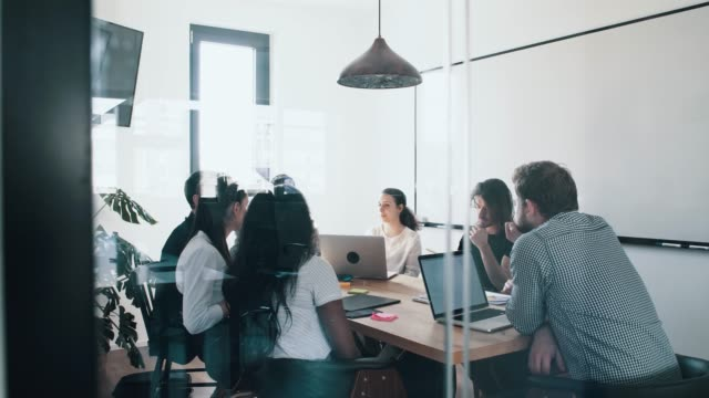 group of people in office meeting - training course stock videos & royalty-free footage
