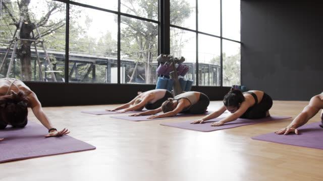 4k uhd : gruppe von menschen ist stretching in yoga-klasse. - yogastudio stock-videos und b-roll-filmmaterial