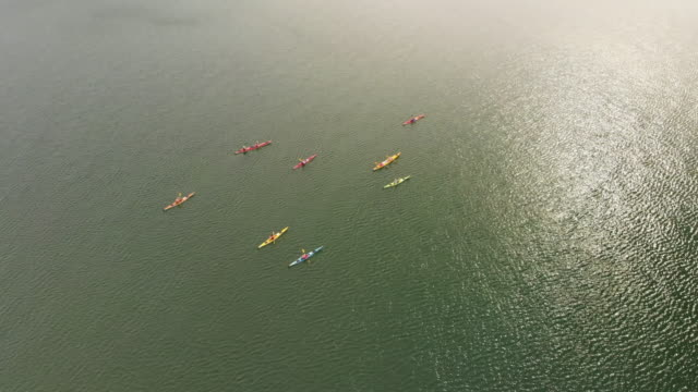 Group of people kayaking on Swedens west coast