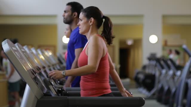 vídeos y material grabado en eventos de stock de a group of people occupy a line of treadmills in a fitness center. - máquina de andar y correr