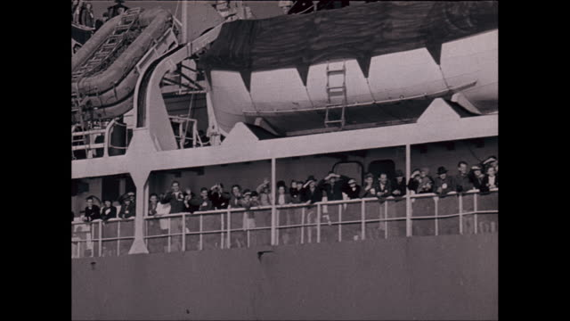 ws pov group of people on deck of pasenger ship waving / united states - passenger craft stock videos & royalty-free footage