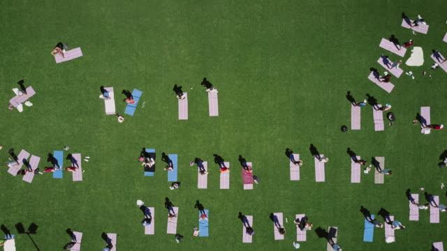 公園でヨガを perfoming 人々のグループ - public park点の映像素材/bロール
