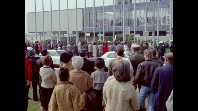 ws group of people protesting with signboards in workers strike / united states - 1966 stock videos & royalty-free footage