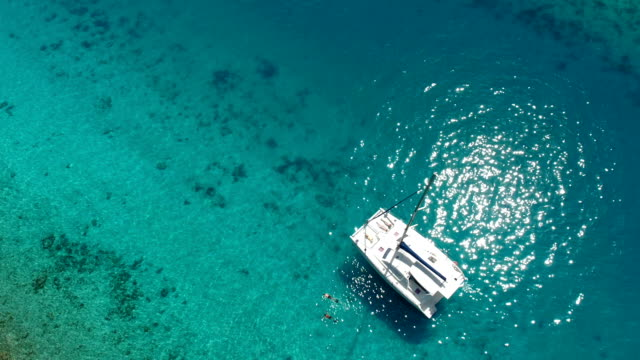 group of people relaxing and snorkeling from luxury catamaran - island stock videos & royalty-free footage