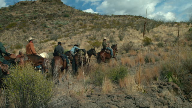 group of people riding horses in desert, big bend - gruppo medio di animali video stock e b–roll