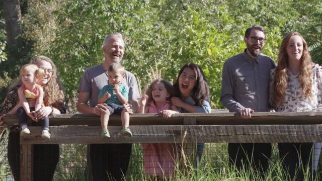 vídeos de stock e filmes b-roll de group of people standing at outdoor exhibit - exposição