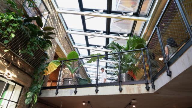 vídeos y material grabado en eventos de stock de group of people standing on balcony in office - espacio en blanco