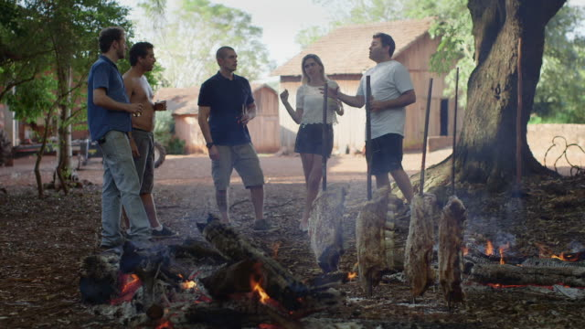 ms a group of people talking and drinking at a barbecue / maringa, brazil - 楽しさ点の映像素材/bロール