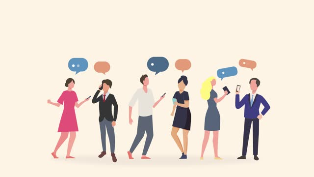 group of people talking and thinking, friends with speech bubbles. possible use for friends communication concept. chat, dialogue or communication cartoon at workplace or between friends.  loopable 4k resolution. - adult stock videos & royalty-free footage