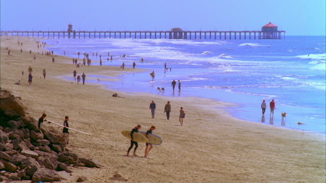 WS Group of people walking with holding surfboards on beach, pier in background / Laguna, California, USA