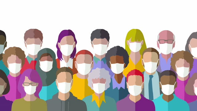 group of people wearing facemasks - illustration stock videos & royalty-free footage