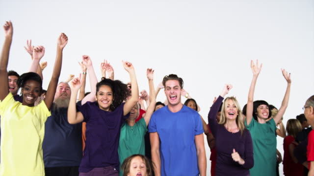 Group of People Wearing Monochromatic Colors and Celebrating