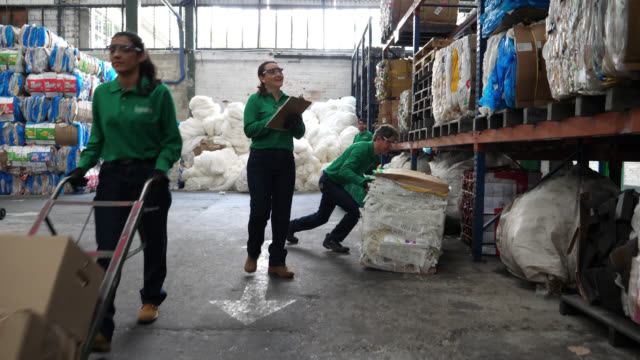 group of people working at a recycling factory arranging materials into different shelves - recycling stock videos & royalty-free footage