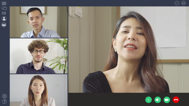 group of people working from home and office, talking to colleagues in webcam group video call conference technology on screen online,webinar or distance meeting. - instructor stock videos & royalty-free footage