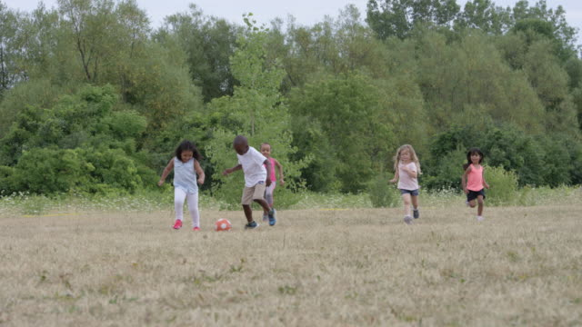 group of preschoolers playing soccer outdoors - school yard stock videos & royalty-free footage