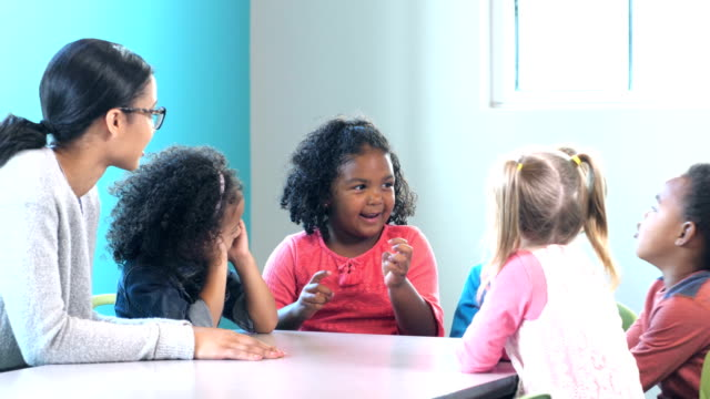 group of preschoolers with teacher, girl talking - nursery school child stock videos & royalty-free footage