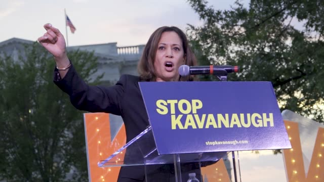 vídeos y material grabado en eventos de stock de a group of protesters hold a night rally outside capitol hill with several senators as guest speakers protesters rally against supreme court nominee... - senador