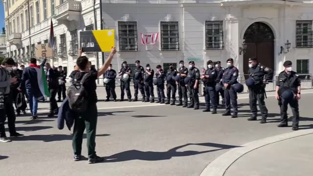 group of protesters in the austrian capital gathered on sunday, may 16, to show solidarity with palestinians and in protest against vienna's open... - employee engagement stock videos & royalty-free footage