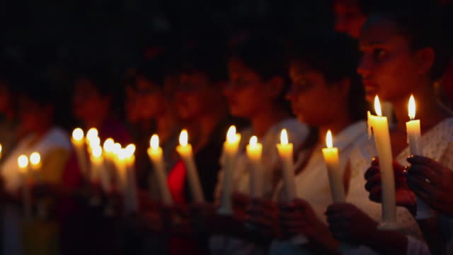 Group of Protestors holding candles, Delhi, India
