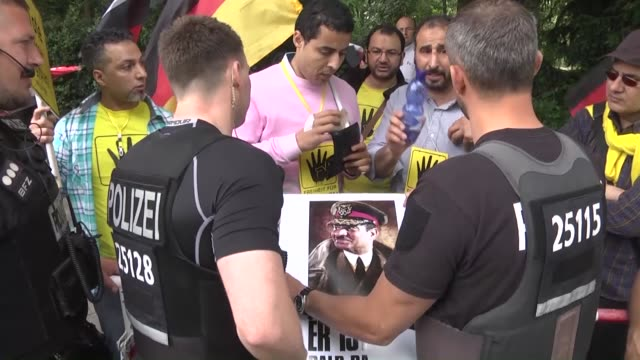 a group of protestors stage demonstration against egyptian president abdel fattah alsisi's meeting with german president joachim gauck in front of... - president of egypt stock videos & royalty-free footage