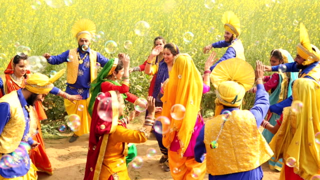 Group of punjabi men and women celebrating baisakhi festival In the farm, Punjab, India