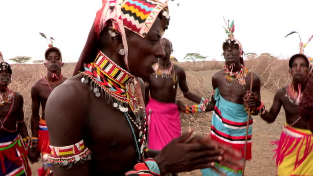 group of rendille men performing a traditional dance - cultures stock videos & royalty-free footage