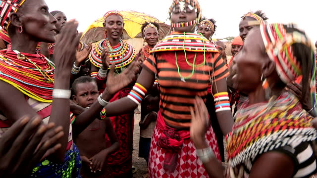 Group of Rendille woman performing a traditional dance