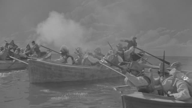 ms group of row boats full of soldiers in battle - traditional helmet stock videos and b-roll footage