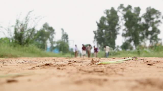 vidéos et rushes de group of rural kids rolling tyres, haryana, india - indien d'inde
