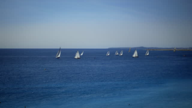 ws group of sailboats on mediterranean - medium group of objects stock videos & royalty-free footage