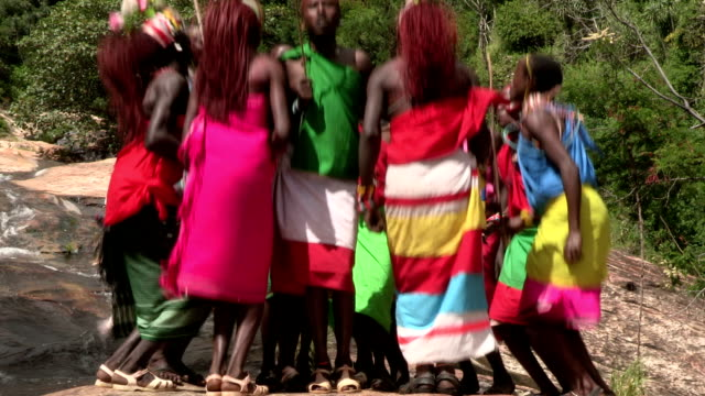 Group of Samburu men and woman performing a traditional dance