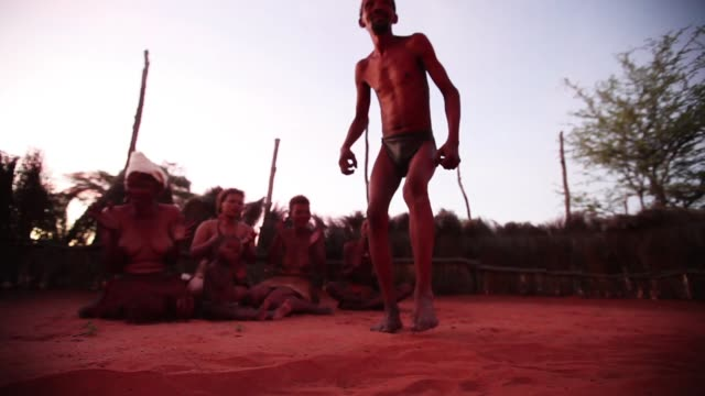 A group of San Bushmen from the Khomani San community do traditional dances around a fire in the Southern Kalahari desert on October 16 2009 in the...