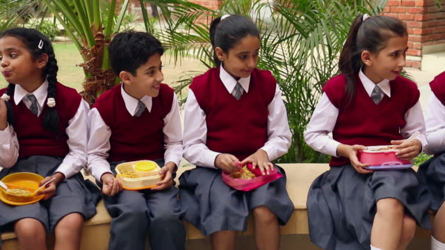 group of school students eating food, noida, uttar pradesh, india - uniform stock videos & royalty-free footage
