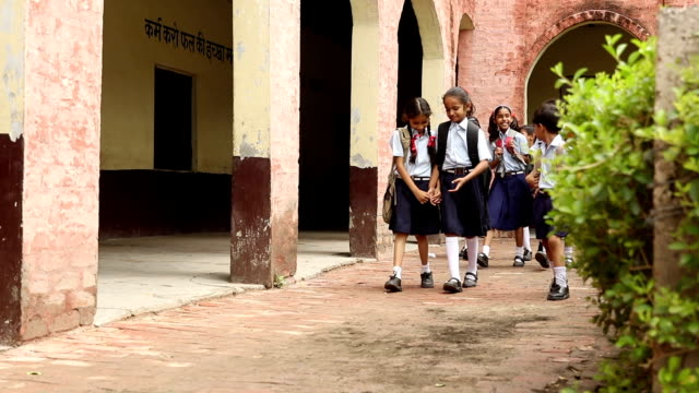 vidéos et rushes de group of school students walking in campus, haryana, india - écolière
