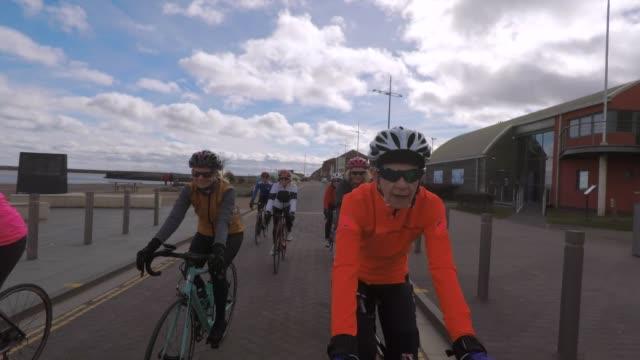 group of senior cyclist - sports helmet stock videos & royalty-free footage