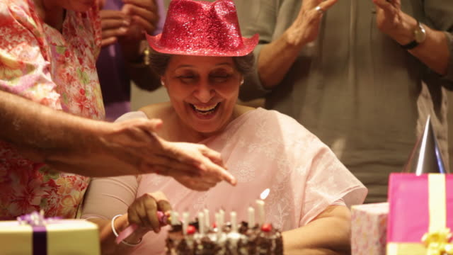 group of senior people celebrating birthday party  - candle stock videos & royalty-free footage