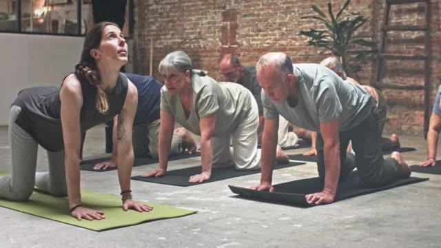 stockvideo's en b-roll-footage met groep van senioren uitoefenen in yogales - trainer